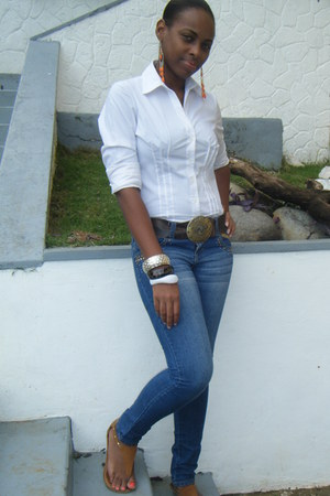 blue jeans - dark brown belt - white blouse - carrot orange earrings