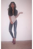 Zara scarf - Peta shirt - Viktor Victoria leggings - Forever 21 shoes - Victoria