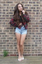 high-waisted shorts - vintage jacket - high-neck top - flats