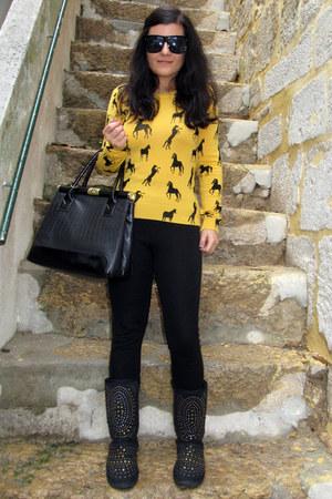 gold Sheinside jumper - black Zara pants