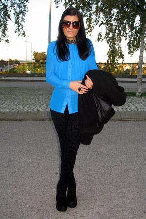 black Stradivarius leggings - sky blue sammydress blouse