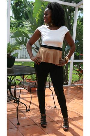 black pants - camel shirt - black shirt - off white shirt