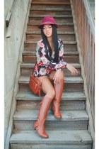 Lotus Boutique romper - Nine West boots - Target hat - coach bag