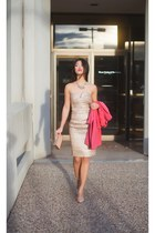 sequined LuLus dress - H&M coat - clutch LuLus purse