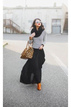 TJ Maxx skirt - Ralph Lauren boots - kohls sweater - Forever 21 scarf