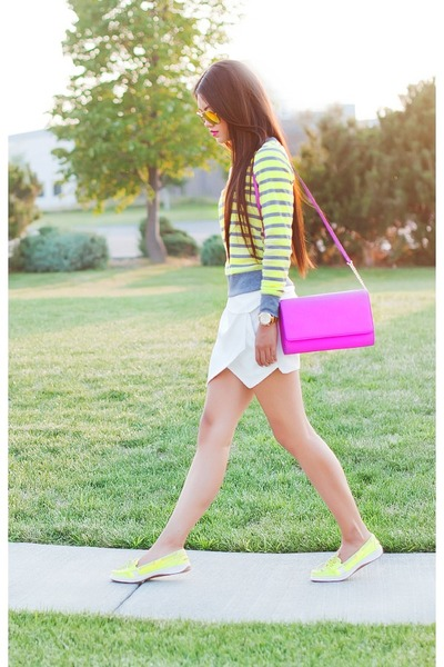 amethyst hm purse - yellow coach shoes - ivory Forever 21 shorts