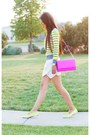 Yellow-coach-shoes-amethyst-hm-purse-ivory-forever-21-shorts