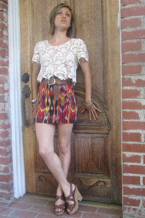 off white lace top top - tribal Xhilaration- Target skirt - brown wedges