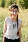 White-unknown-blouse-vintage-hat