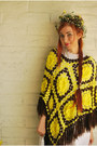 Yellow-fringe-vintage-cape-white-vintage-dress