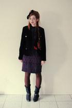 black cowboy Sostanza boots - deep purple vintage Warren Petites dress - black v