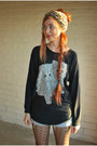 Black-glitter-cats-vintage-sweatshirt