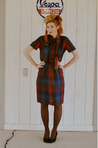 maroon plaid patty petites dress - light brown mink fur pill box hat - black vin