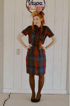 maroon plaid patty petites dress - light brown mink fur pill box hat - black vin