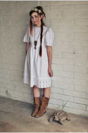 white thrifted vintage dress
