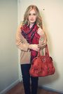 Red-vintage-scarf-beige-vintage-sweater-orange-bag-black-pants