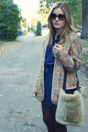 vintage blazer - vintage bag - Vintage DVF dress