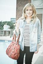 white stripe H&M shirt - burnt orange karma purse - black H&M pants - light blue