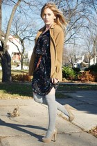 black vintage dress - heather gray Forever21 socks - tan Aldo shoes - camel vint