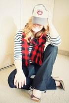 navy Forever 21 jeans - red vintage scarf - silver Aldo heels