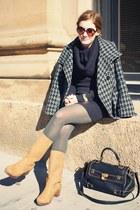 mustard Ugglebo boots - black H&M dress - charcoal gray jacket