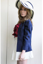 blue Geisha Pearl vintage blazer - white vintage skirt - red Urban Outfitters to