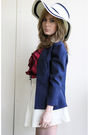 Blue-vintage-blazer-white-vintage-skirt-red-urban-outfitters-top-white-hat