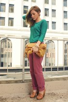 green JCrew shirt - mustard Cut-N-Paste bag - pink JCrew pants