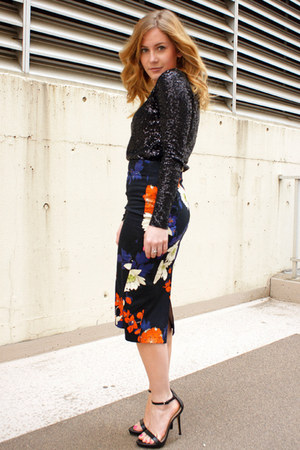 black floral Dorothy Perkins skirt - black sequin JCrew top - black Zara heels