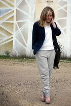 gray J Crew pants - beige BCBG shoes - blue vintage blazer - white vintage sweat