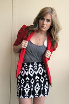 red Geisha Pearl vintage blazer - Ross shirt - Forever21 skirt