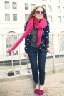 Hot-pink-go-jane-flats-dark-gray-jcrew-shirt-navy-forever-21-blouse