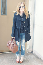 black Miss Sixty coat - dark brown Aldo bag - black JCrew top
