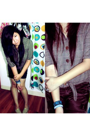dark khaki TOMS shoes - camel landmark shirt - dark brown China shorts