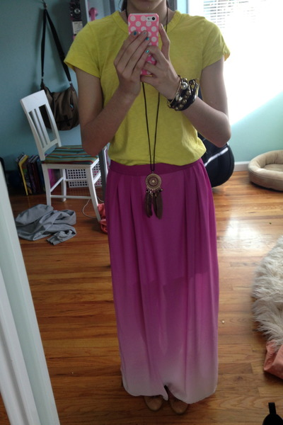 yellow Gap t-shirt - mustard chicnova necklace - magenta romwe skirt