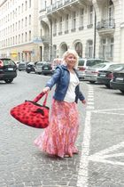 pink dress - red Bag accessories