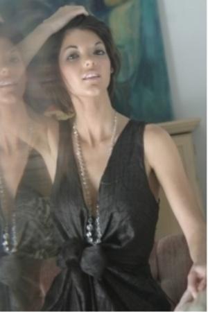 dress - vintage necklace