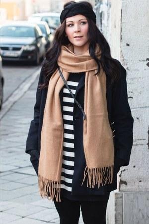 black Zign boots - black Mango dress - navy Zara coat