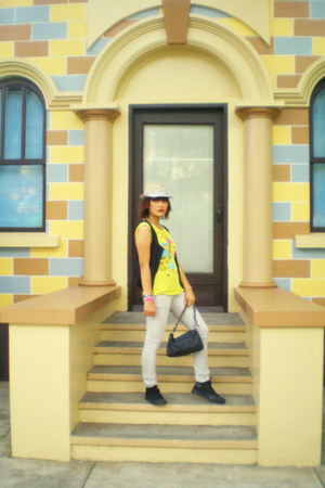 black hicut converse sneakers - off white pants - yellow foldedandhung blouse