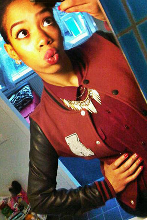 gold spikes H&M necklace - ruby red leather c&a jacket