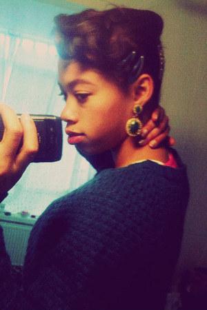 dark green green vintage earrings - teal braided Primark sweater