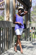 blue blouse - calvin klein bag - leopard print Guess wedges
