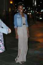 beige long f21 dress - light brown Zara shoes - sky blue H&M jacket