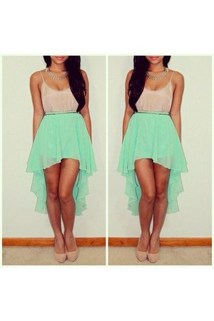 lime green skirt - nude blouse - nude heels