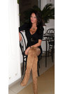 Tan-bershka-boots-black-mayo-chix-dress-gold-miss-sixty-necklace