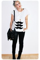 white MatiStache t-shirt - black Primark bag - black H&M pants