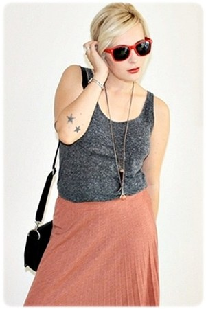 black Primark bag - ruby red Ebay sunglasses - coral maxi Primark skirt