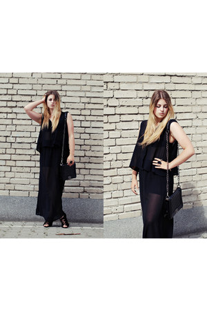 black New Yorker top - black maxi skirt Sinsay skirt