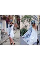 white Lana Nguyen dress - black suede Mohito bag
