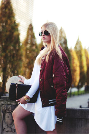 puch tunic Lana Nguyen dress - varsity River Island jacket
